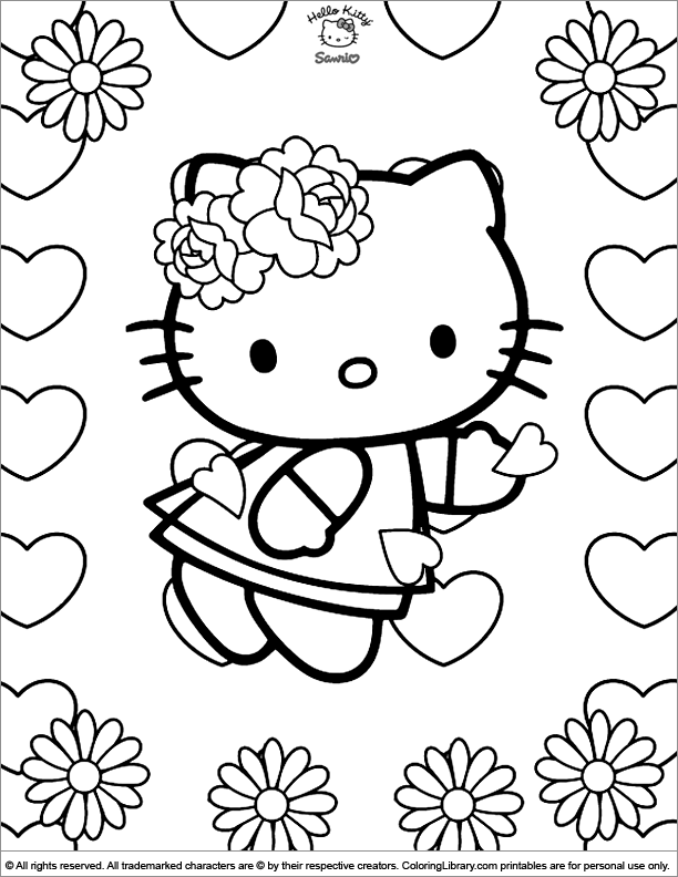 Hello Kitty Flower Colouring Pages