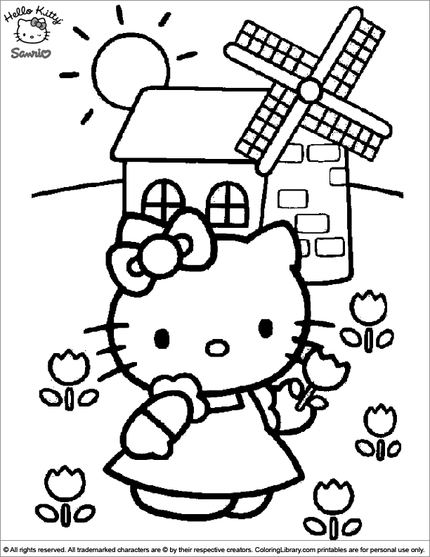 Hello Kitty coloring page for children