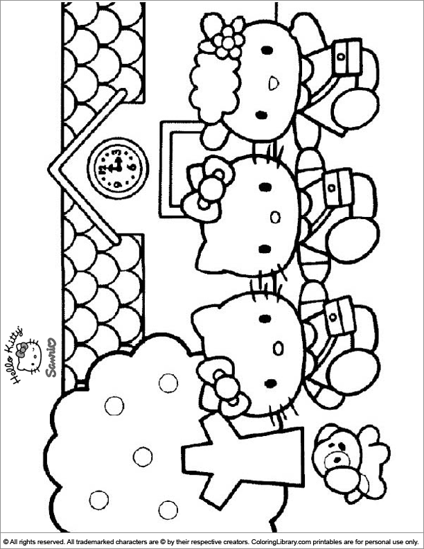 Hello Kitty printable coloring picture