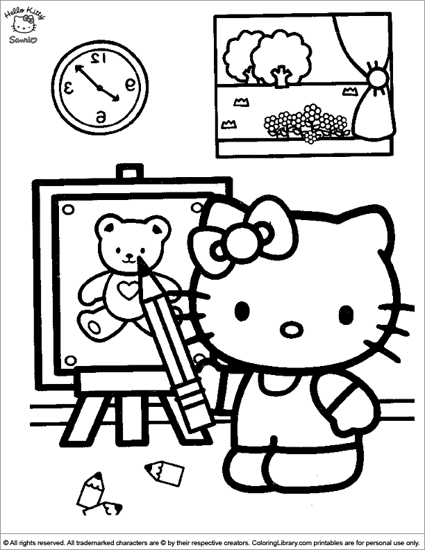 Hello Kitty coloring for kids free