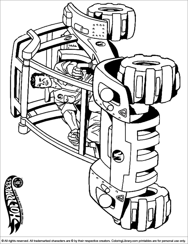 Hotwheels coloring book page