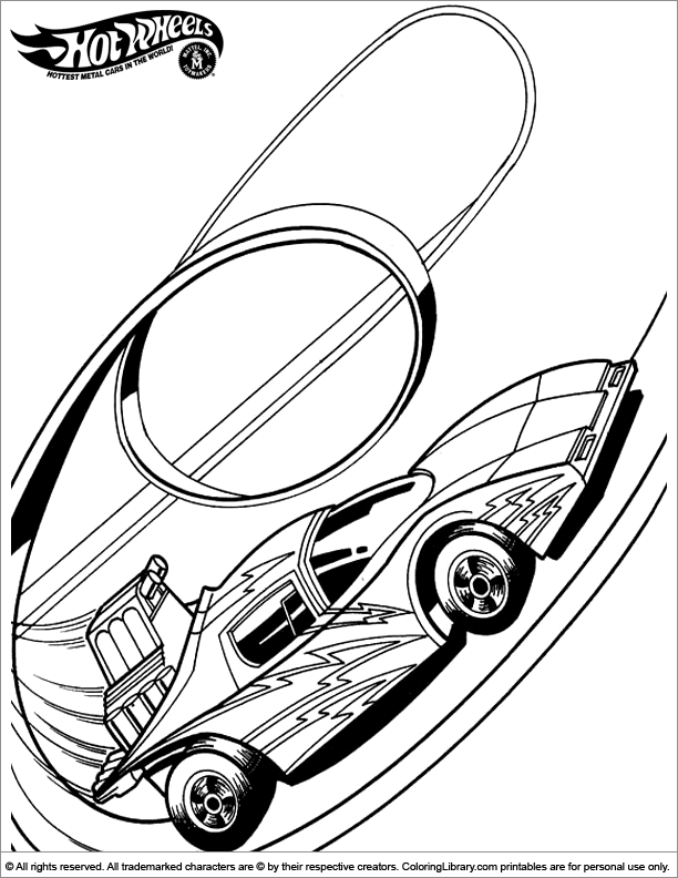 Hotwheels coloring printable for kids