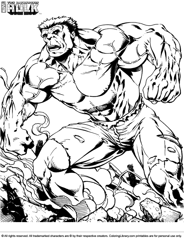 Ausmalbilder Marvel Helden Angel: Hulk Coloring Picture