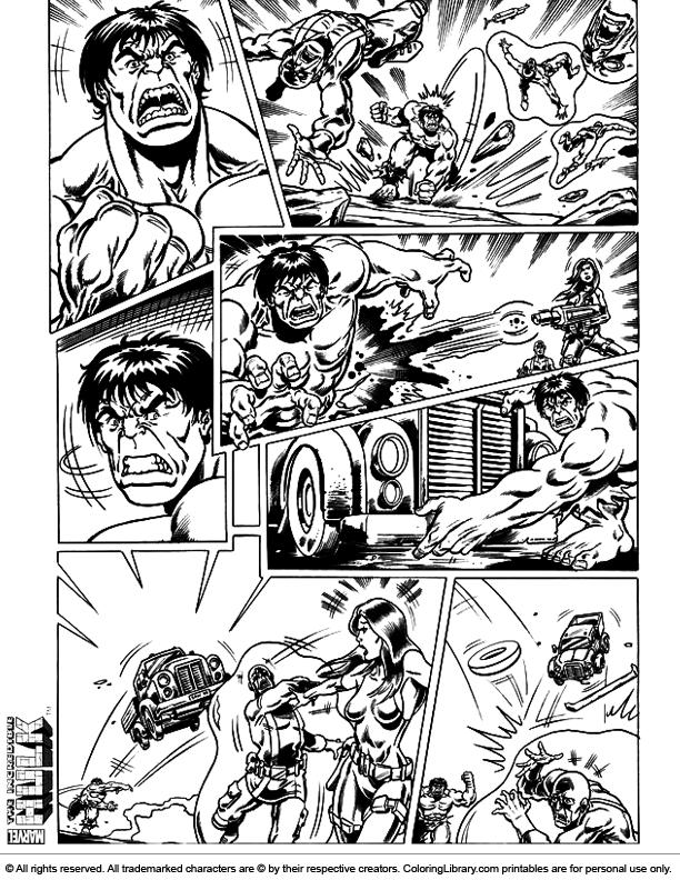Hulk free printable coloring page
