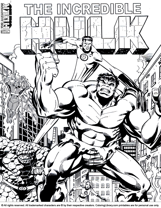 Hulk Printable Coloring Page For Kids - Coloring Library