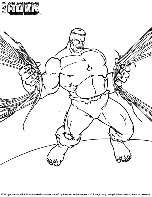 Hulk coloring page for kids to print