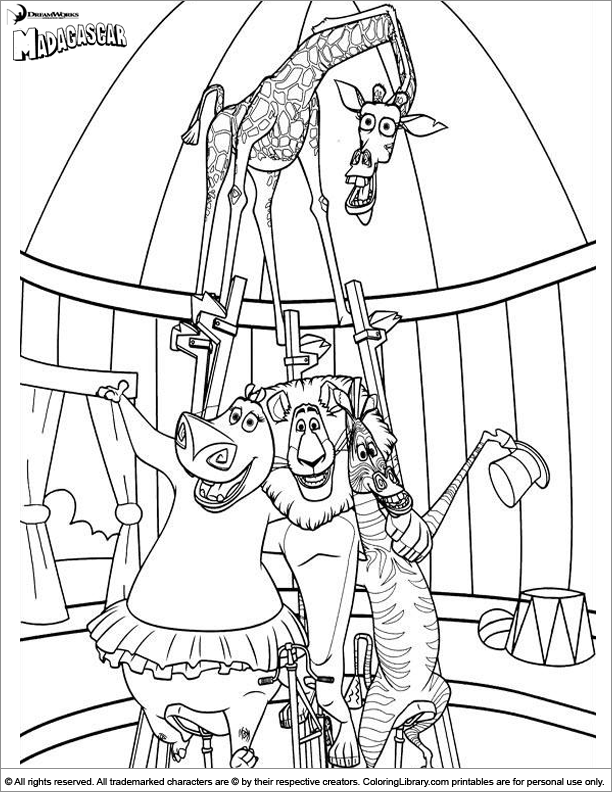 madagascar coloring picture - Madagascar Coloring Pages