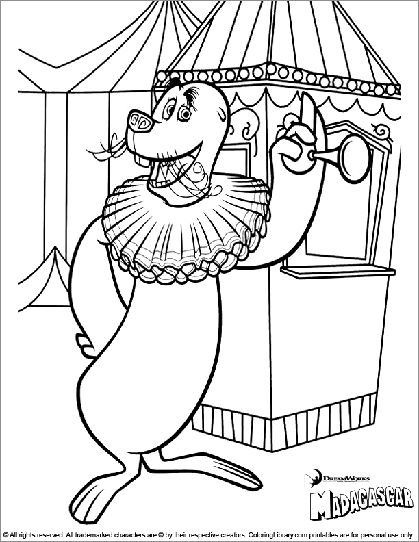 Madagascar free coloring page for children