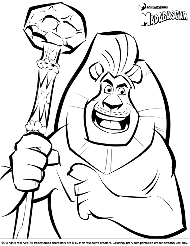 Madagascar coloring book page for kids