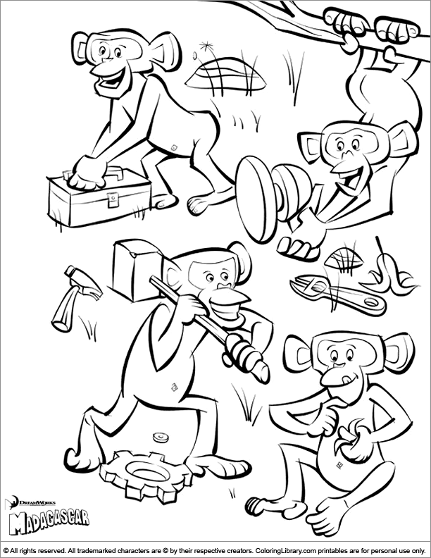 Madagascar coloring picture