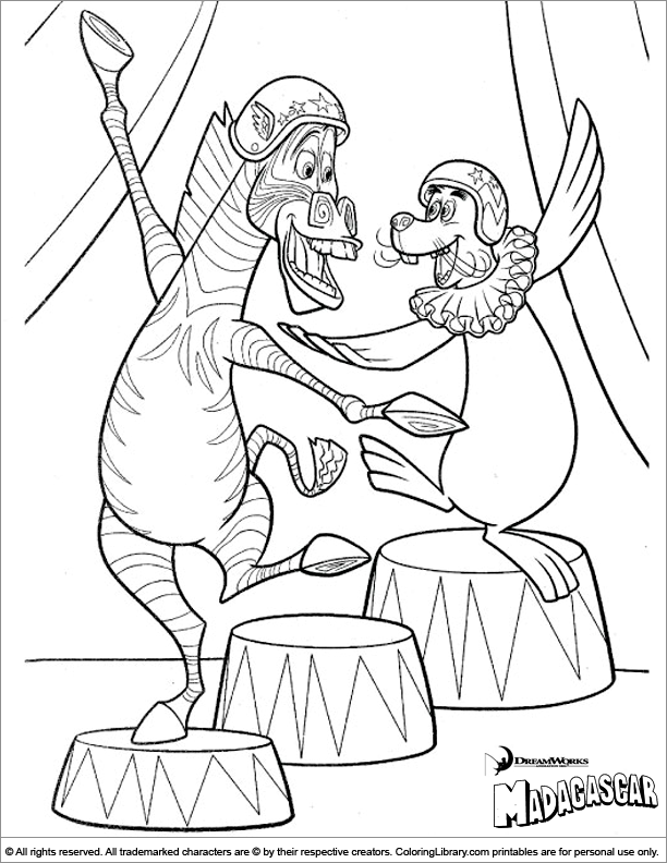 Pin pin madagascar color page coloring pages for kids for Madagascar characters coloring pages