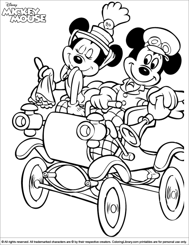 Mickey mouse coloring picture for Library mouse coloring page