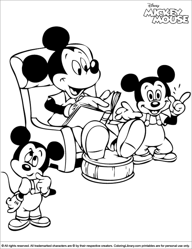 Printable mickey mouse coloring page coloring library for Library mouse coloring page