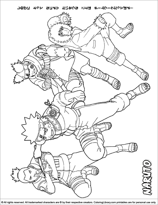 Naruto coloring book page for kids