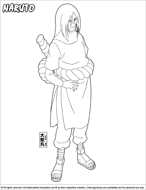 Naruto free coloring sheet