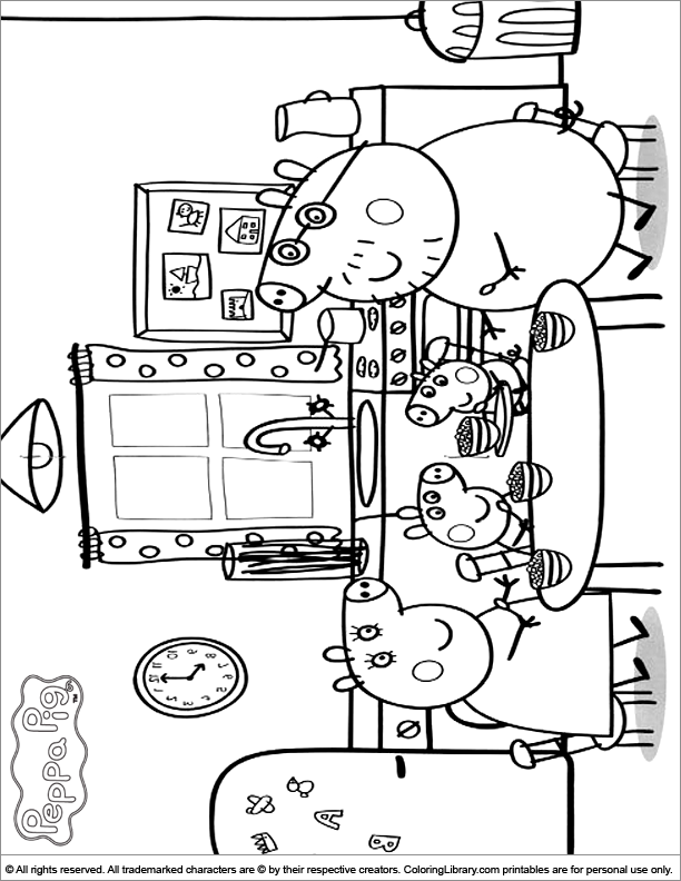 Peppa Pig fun coloring sheet