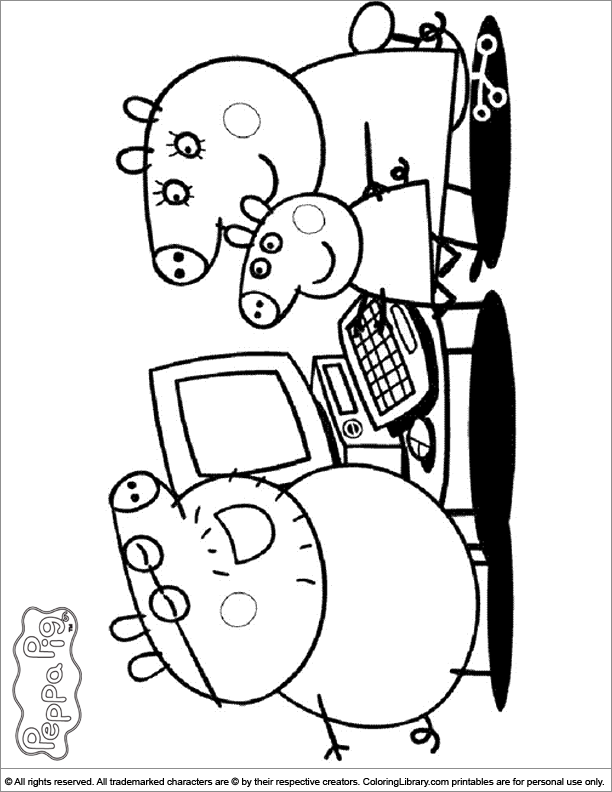 Peppa Pig coloring book page for kids