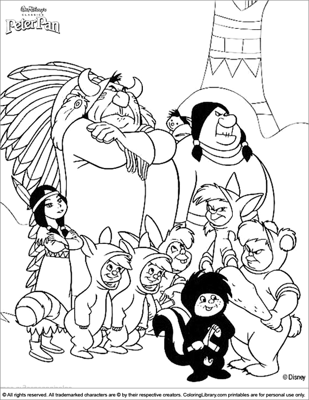 Peter Pan coloring book sheet