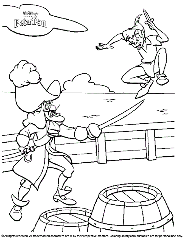 Peter Pan coloring printable for kids