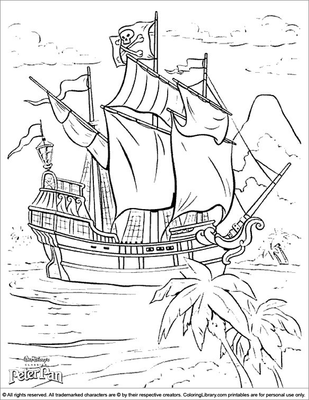 Peter Pan colouring sheet for kids