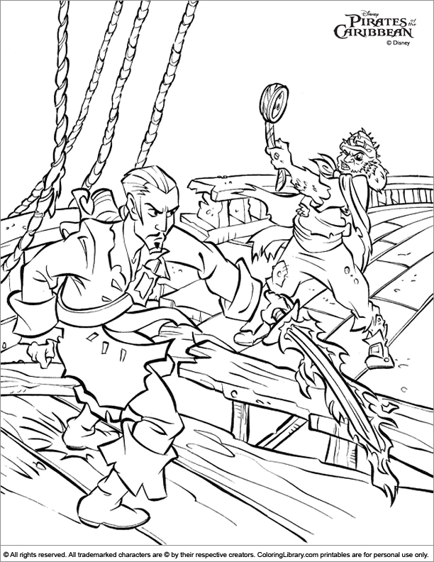 Pirates of the Caribbean coloring book sheet