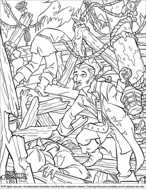 Pirates of the Caribbean coloring sheet to print