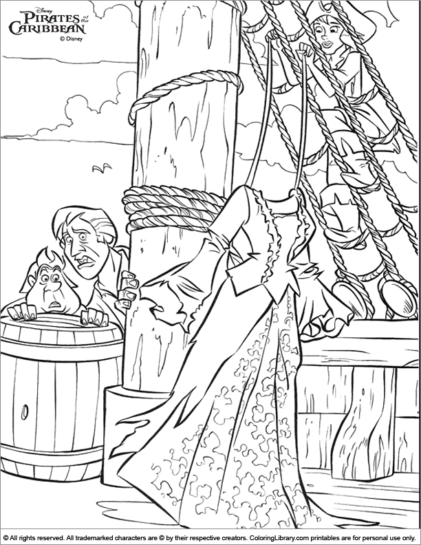 Pirates of the Caribbean coloring printable for kids