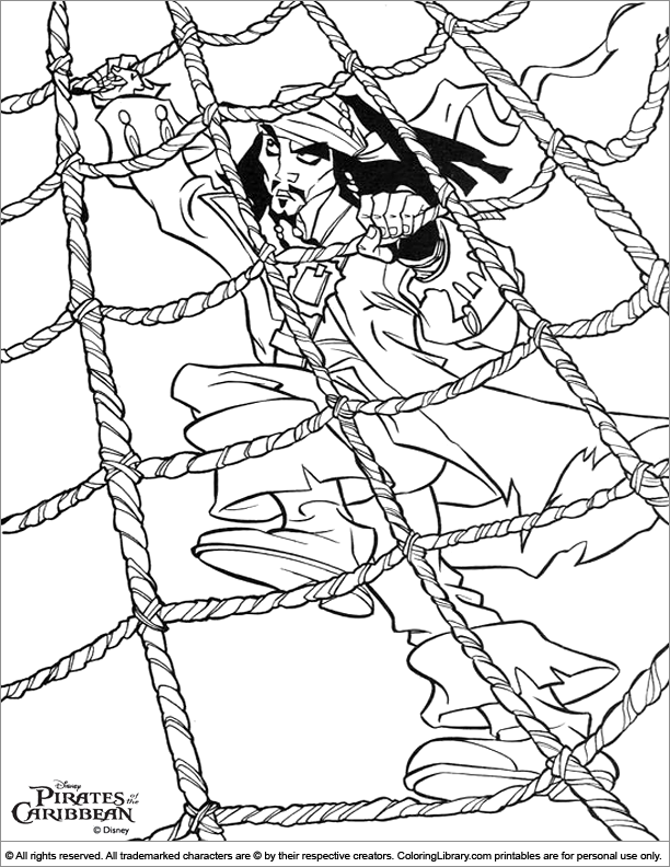 Pirates of the Caribbean coloring page for children
