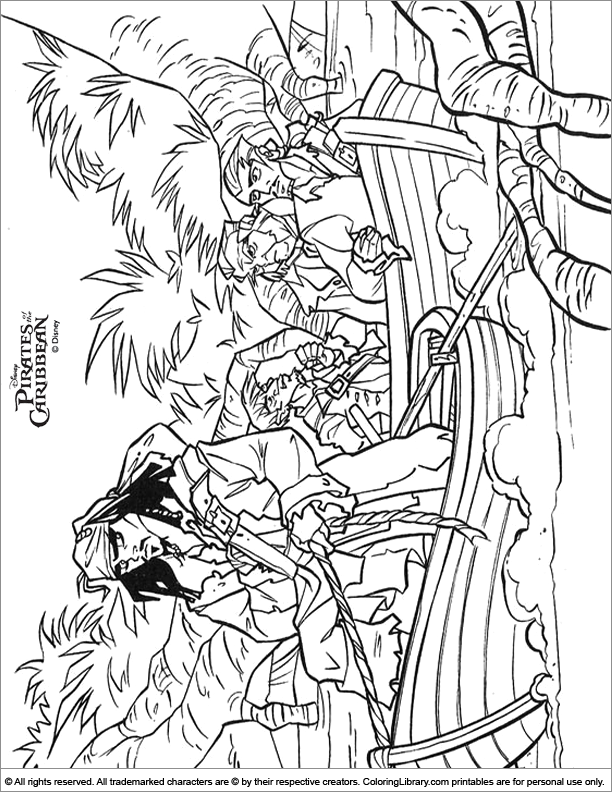 Pirates of the Caribbean coloring sheets for kids