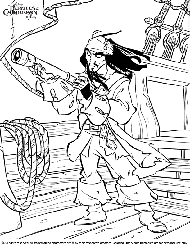 Pirates of the Caribbean coloring page free