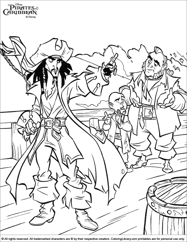 Pirates of the Caribbean printable coloring picture