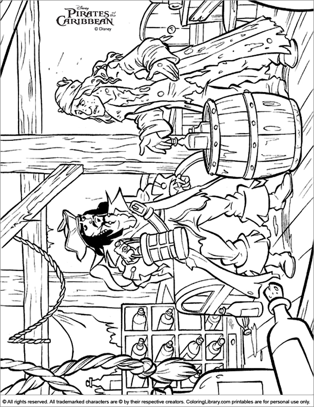 Pirates of the Caribbean free coloring book page