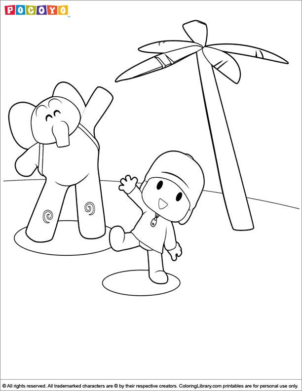 Pocoyo free coloring picture