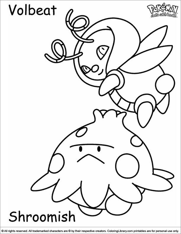 Pokemon color book page