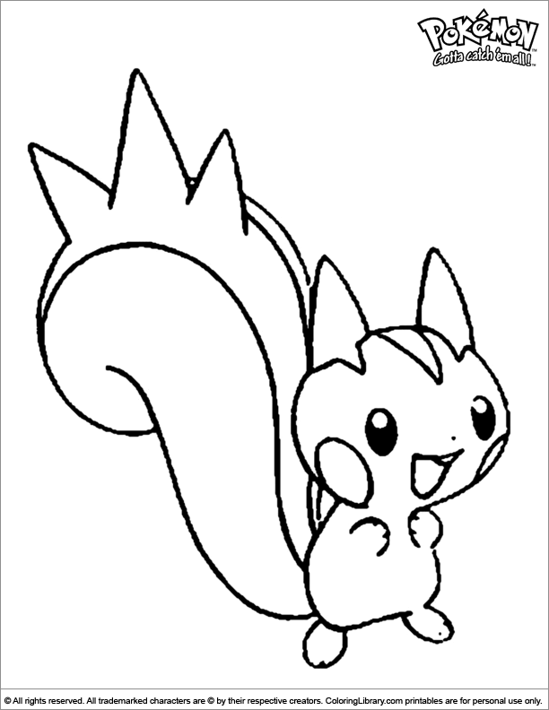 Pokemon coloring book page for kids