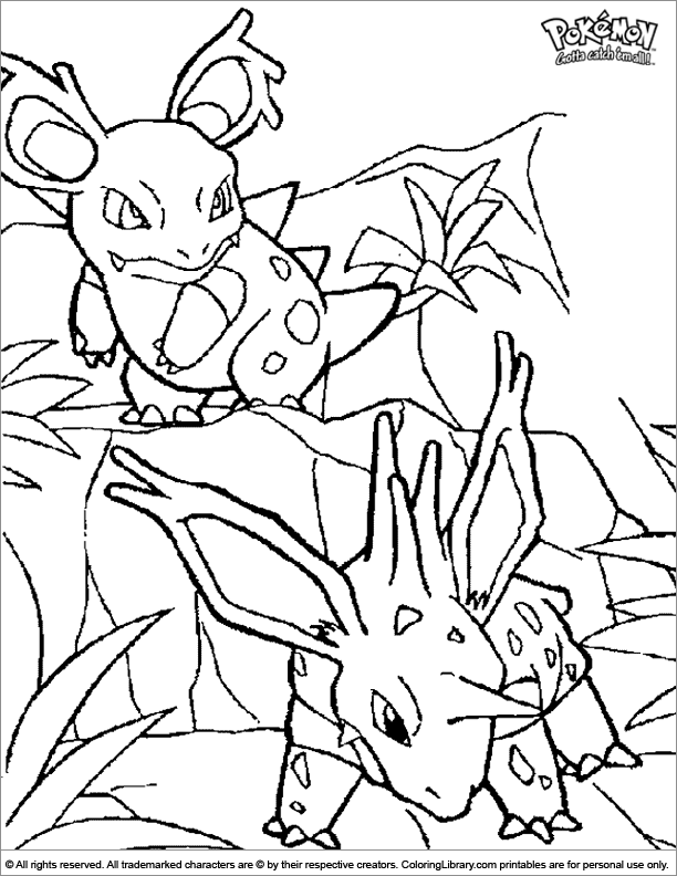 Pokemon free coloring page for children