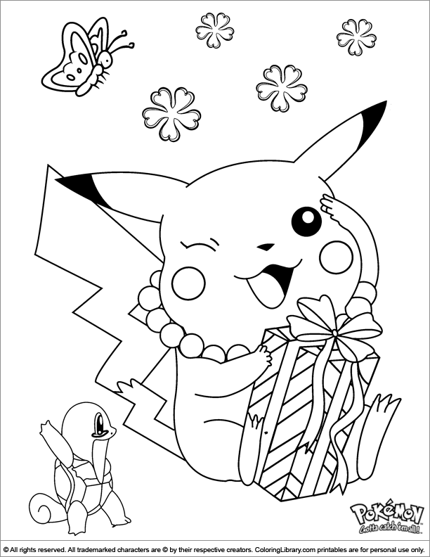 Pokemon coloring book sheet