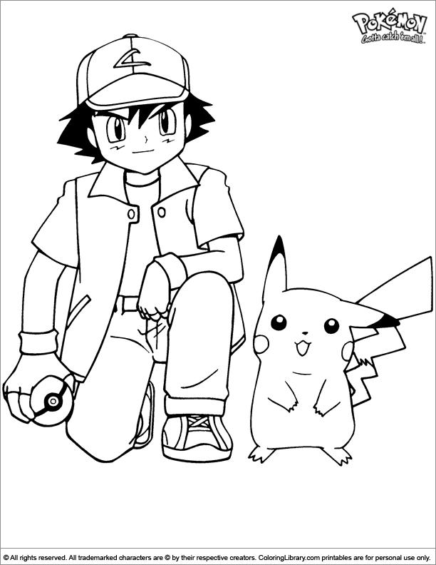 Pokemon colouring sheet for kids