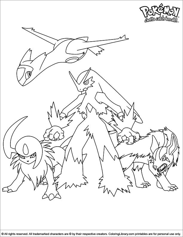 Pokemon free coloring picture