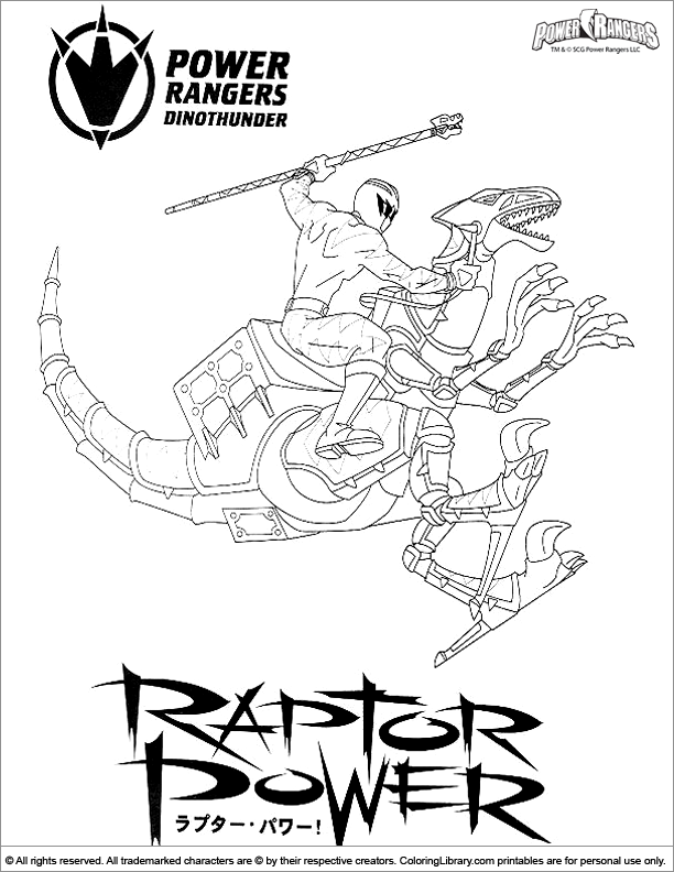 Power Rangers coloring book sheet