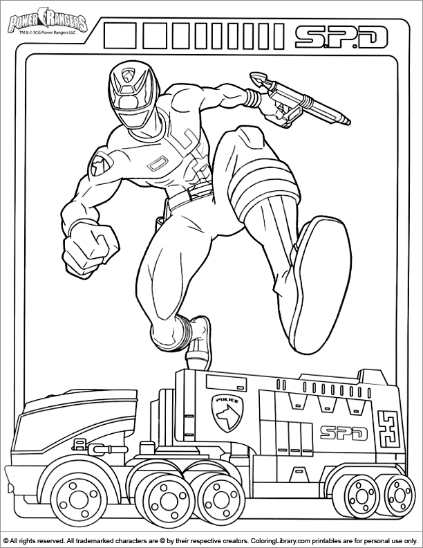 Power Rangers coloring sheet to print