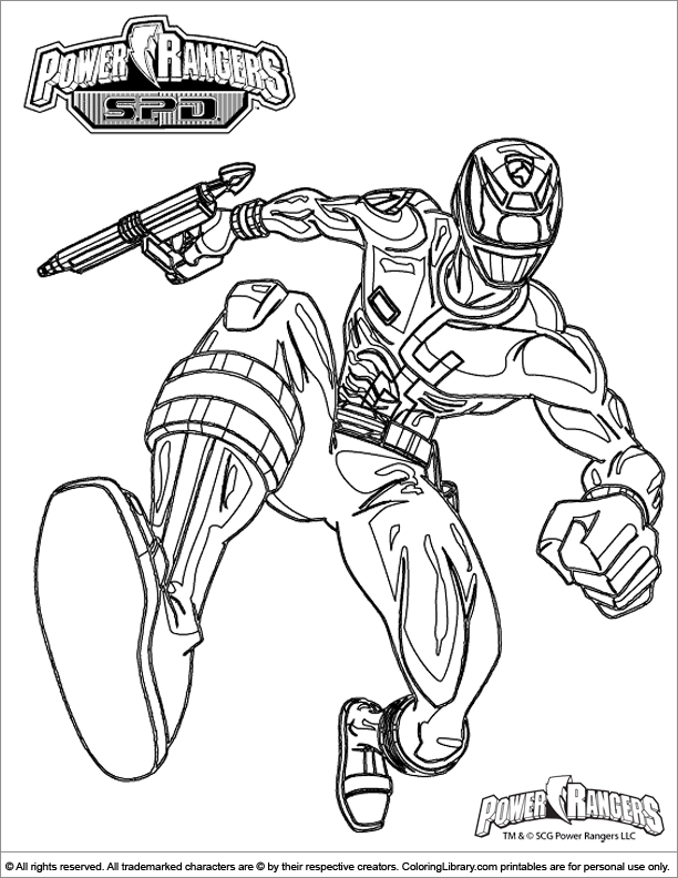 Power Rangers colouring sheet