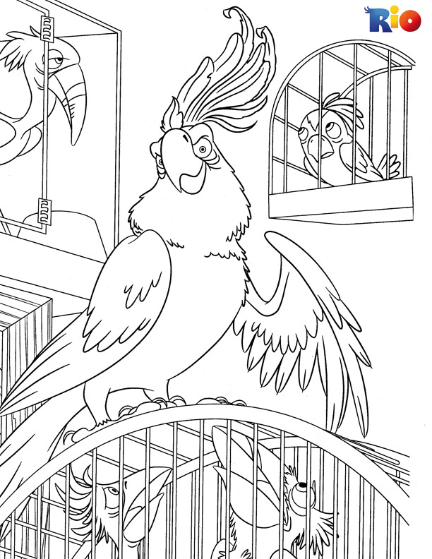 Rio coloring book page for kids