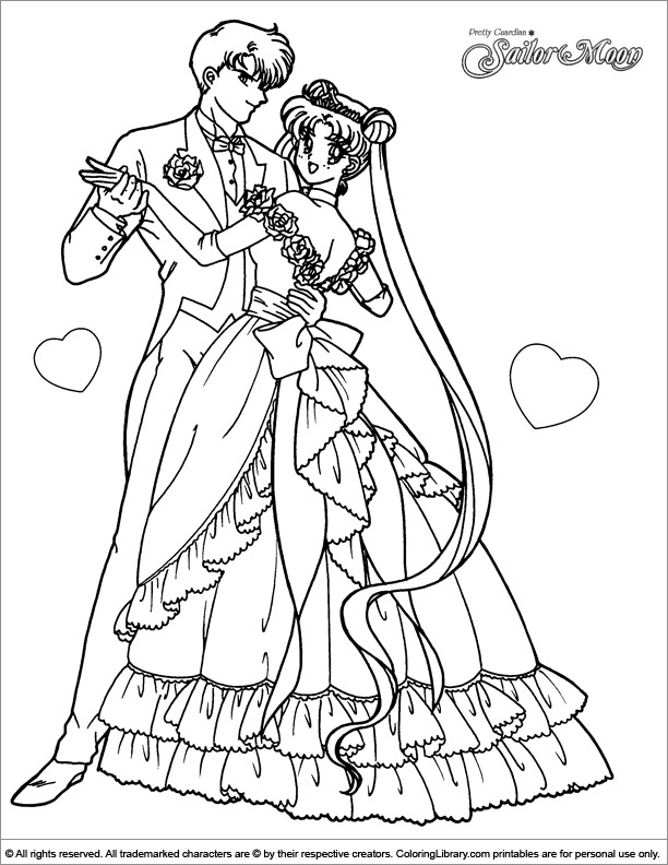 Sailor Moon And Sailor Chibi Moon Coloring Page : Color Luna | 792x612