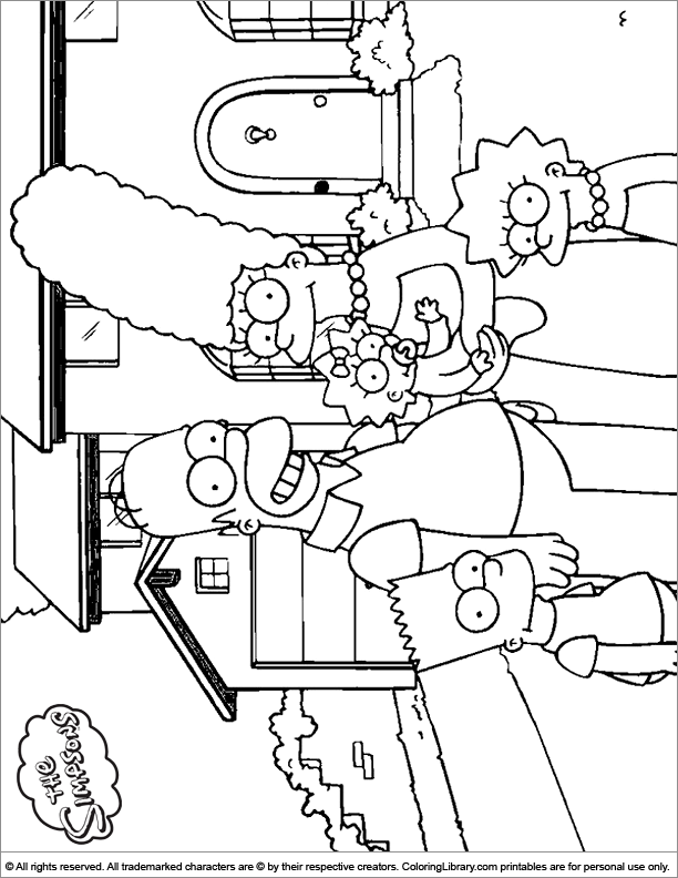 Simpsons coloring book page for kids