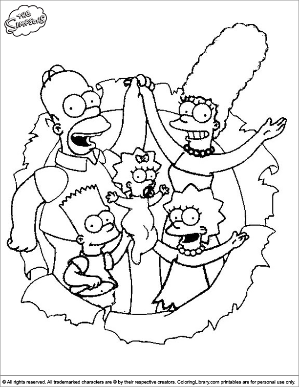 Simpsons coloring book picture