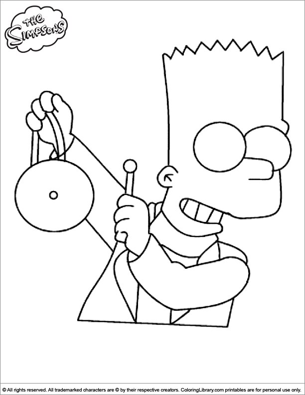 Simpsons free coloring page for children