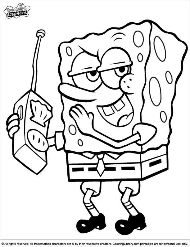SpongeBob free coloring sheet