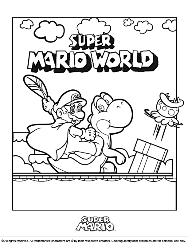 mario brothers coloring pictures print pages