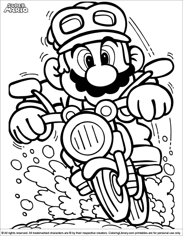 free coloring pages of yoshi on motorcycle